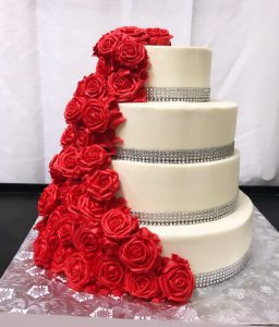 Tiers of roses and diamonds cake