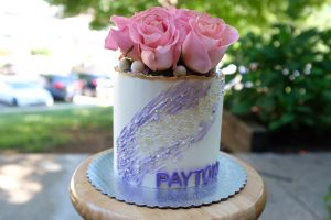 Roses and glitter birthday cake