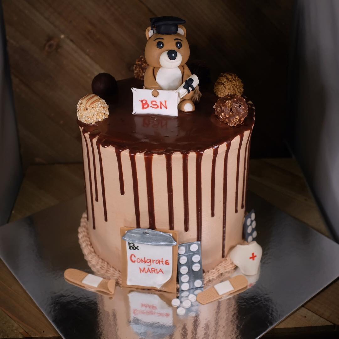 Graduation chocolate drip cake