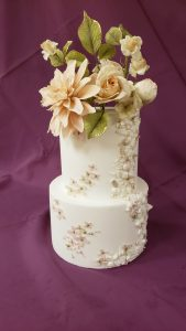 Rustic rose brides cake