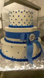 Blue polka dot cake with ribbon