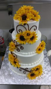 Tiered sunflower cake