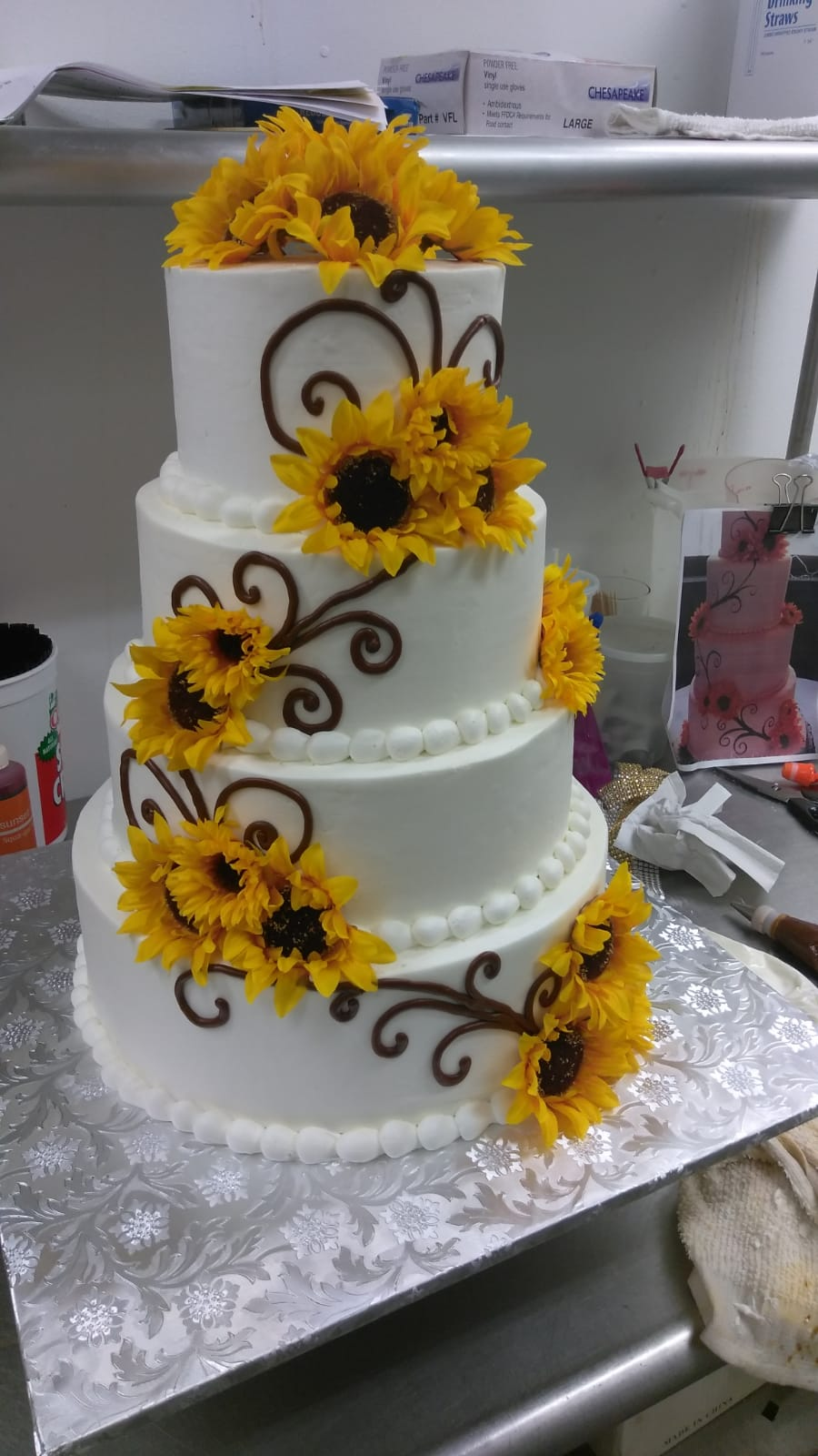 Tiered sunflower cake