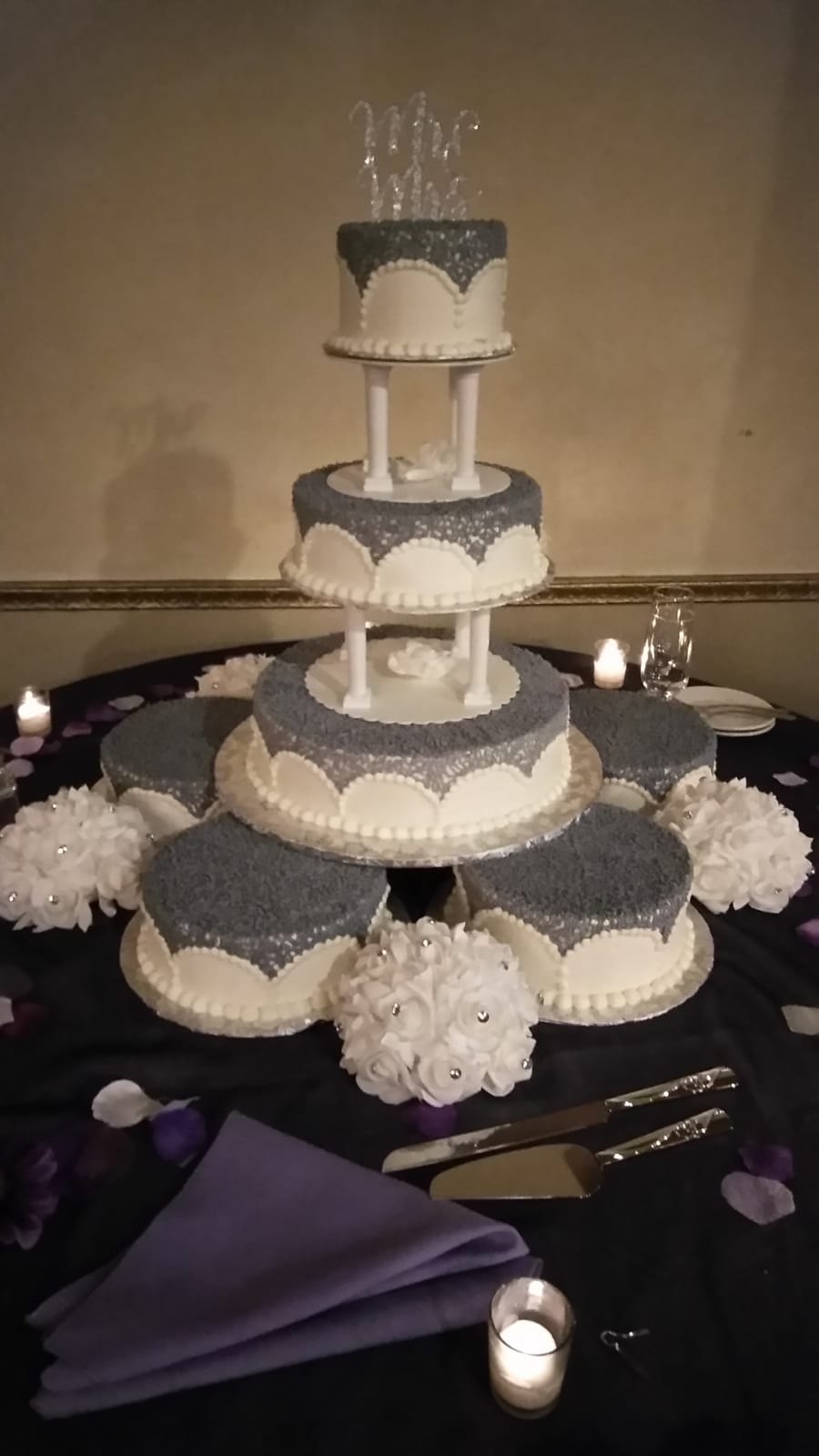 Stunning silver and white satellite cake