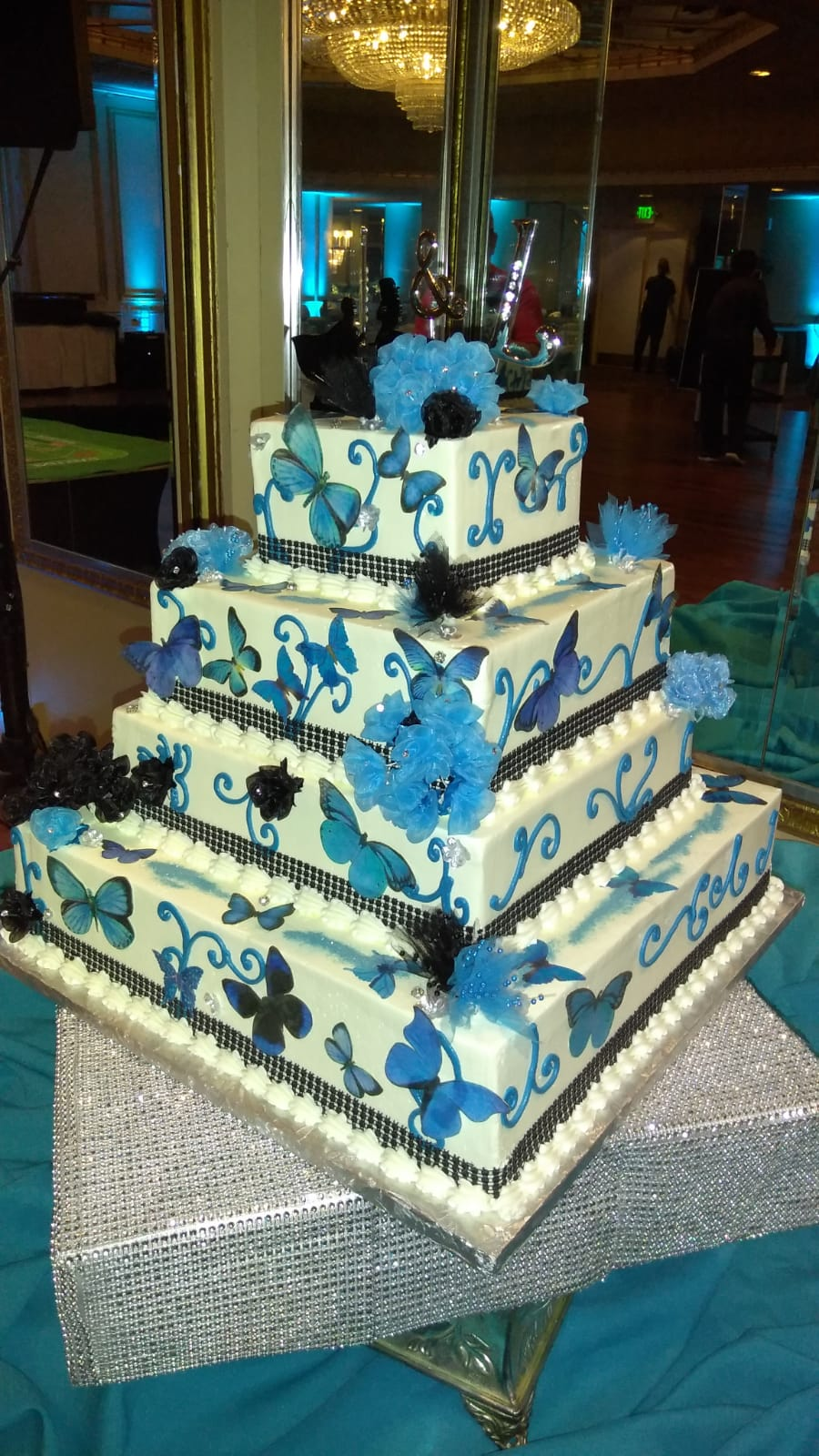 Beautiful tiered butterfly cake