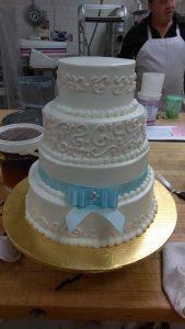Blue bow cake