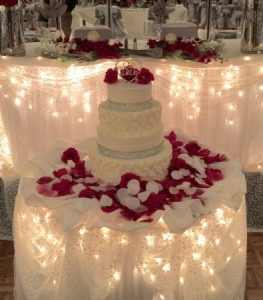 Diamonds and rose petal wedding cake