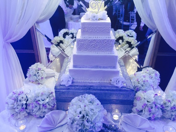 Giant white wedding cake